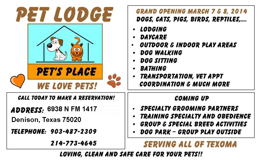 Flyer for Pets Place Lodge